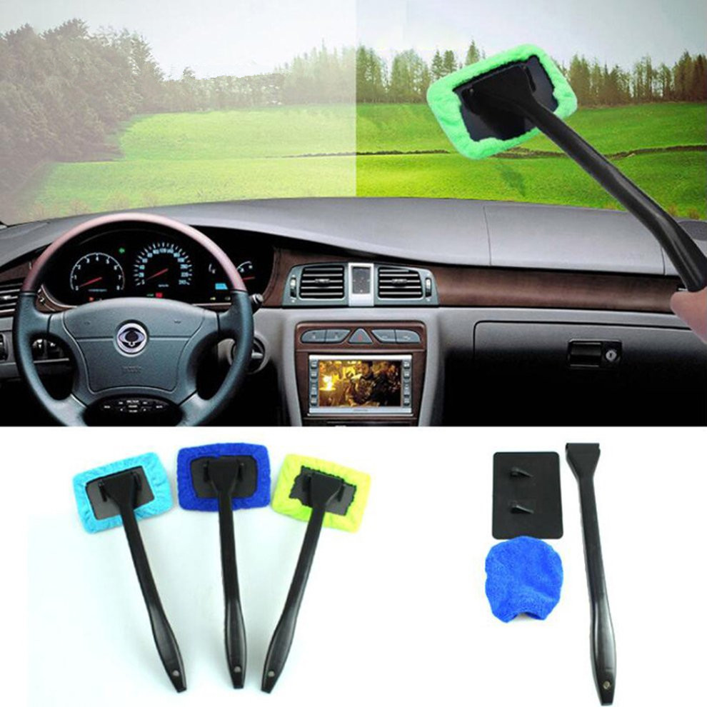 Green/Blue Microfiber Long Handle Car Wash Brush Auto Window Clean Car Window Windshield Cloth Clean Tools Washable Shine Handy