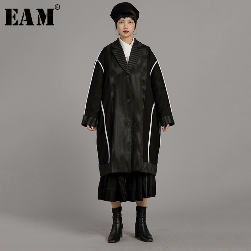 [EAM] 2019 New Spring Winter Lapel Long Sleeve Black White Lien Stitch Big Size Cotton-padded Coat Women   Parkas   Fashion JL737