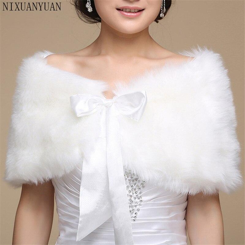 2019 Women Wedding Jacket Fur Bolero Wraps Outerwear Winter Warm Bride Accessories