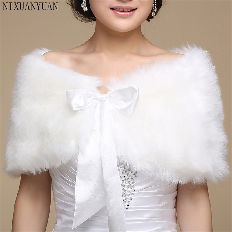 2020 Women Wedding Jacket Fur Bolero Wraps Outerwear Winter Warm Bride Accessories
