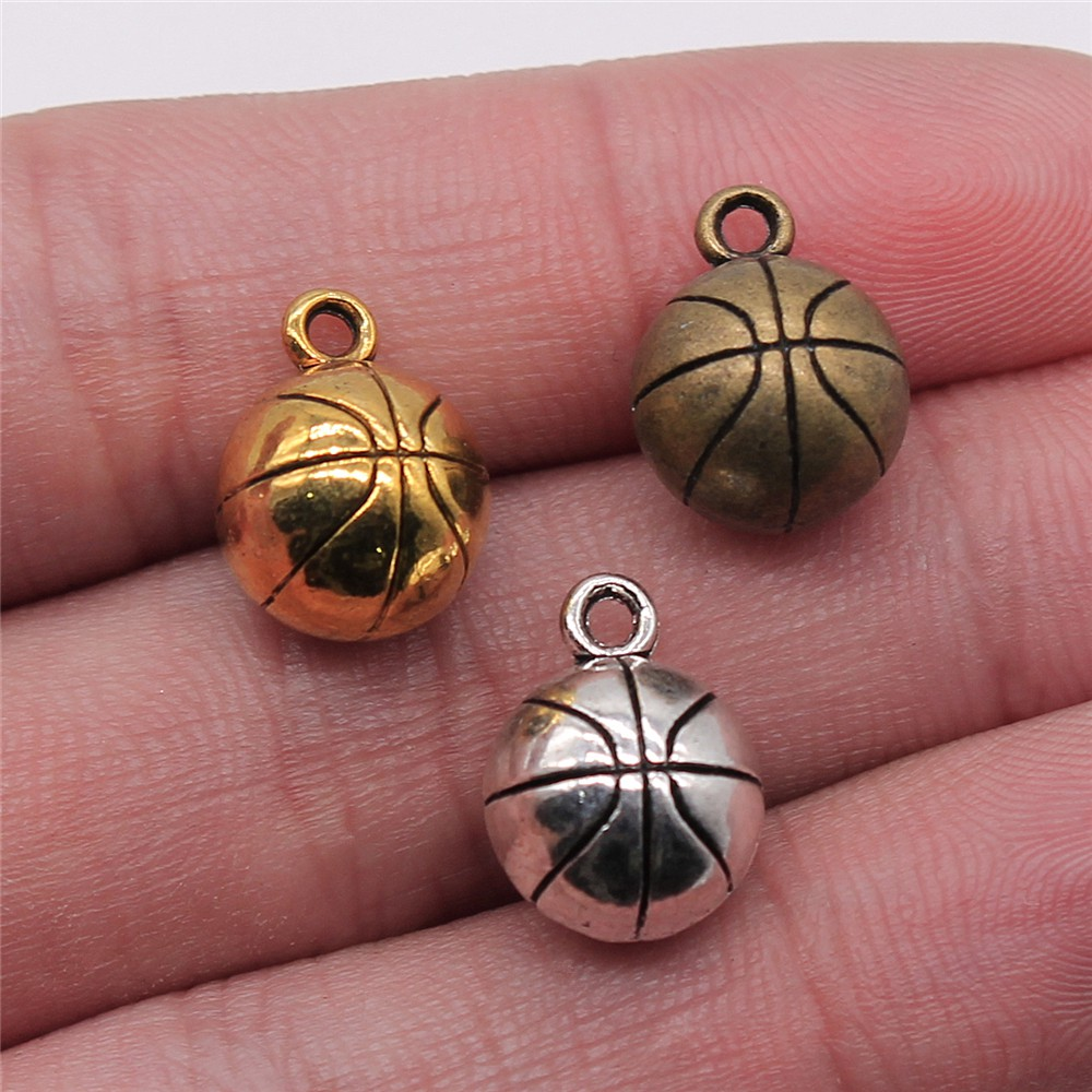 WYSIWYG 4pcs 11mm 3 Colors Antique Gold Antique Silver Color Antique Bronze Basketball Charms 3D Basketball Ball Pendant