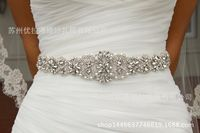 S161B Handmade Beaded luxury imported diamond wedding bride waist belt