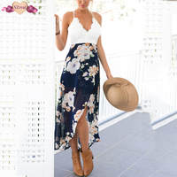 Sexy Print Backless Beach Dress Summer Women Floral Ruffles Off Shoulder Dresses Short Irregular Chiffon Party
