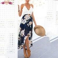 Sexy Print Backless Beach Dress Summer Women Floral Ruffles Off Shoulder Dresses Short Irregular Chiffon Party