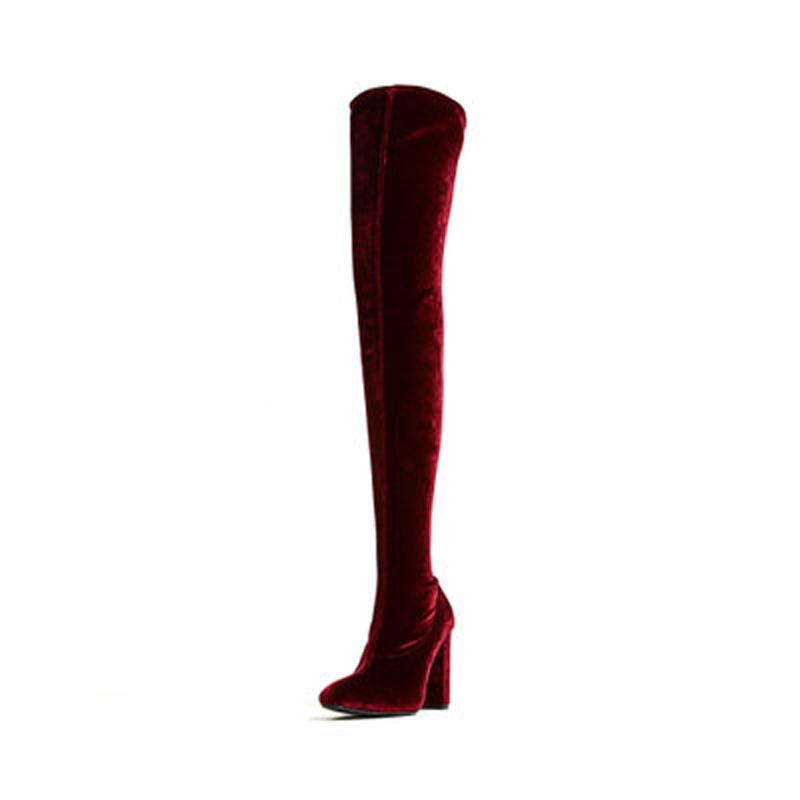 Hot Popular Thigh High Boots Women Closed Toe Over the Knee Boots Slip on Zipper High Heels Slim Stretch Women Botas Mujer