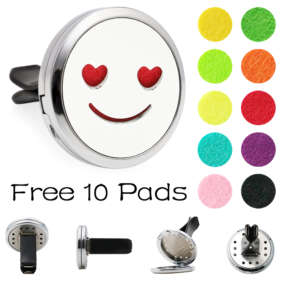 Best Selling Universal 20 Style Stainless Car Air Vent Freshener Essential Oil Diffuser Lockets High Quality Emoji Car Diffuser