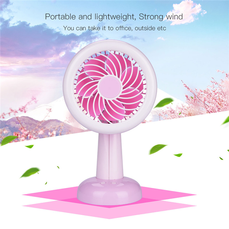 Mini USB Desk Fan Portable Rechargeable Air Cooler Blower Cooling Fan Ventilador With LED Night Light For Home Office Desktop mirror fan usb air cooling fan 1200mah battery rechargeable fan portable desk mini dc fan for home office outdoor