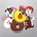 6pcs/lot Korean Line Friend Brown Bear Cony Rabbit Cartoon Sticker For Car Laptop Luggage Skateboard Decal Kids Toy Stickers