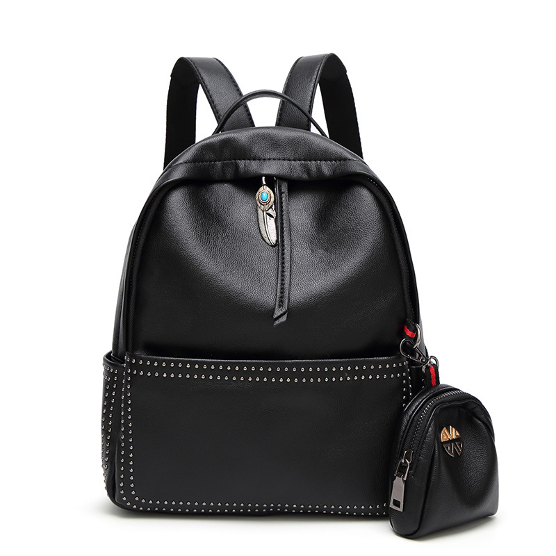 2017 New High Quality PU Leather Women Backpack Preppy Style School Backpack Black Mater Rivet Women