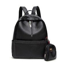 Новинка 2017 года Высокое качество искусственная кожа женщины рюкзак элегантный дизайн школьный рюкзак черный матер заклепки женщины сумка Mochila Feminina