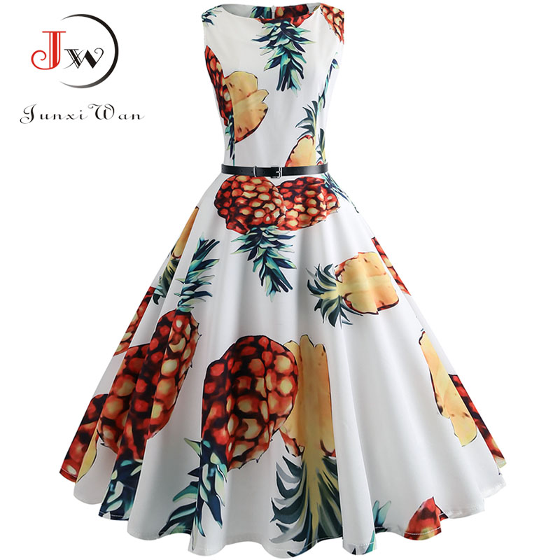 48f34af1b3774 Detail Feedback Questions about Pineapple Print Vintage Dress Women ...