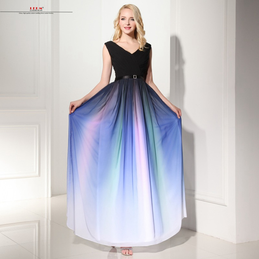 Vestido madrinha 2019 new sexy V neck a Line 2 style black Gradient rainbow   bridesmaid     dresses   long Cheap brautjungfernkleid