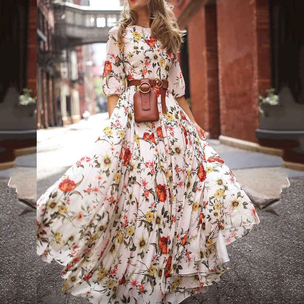Vestido Largo maxi vestido boho con estampado floral Vestido de playa moda mujer