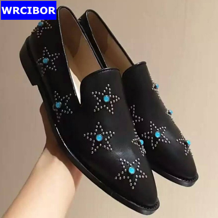 PLUS SIZE 34 42 Genuine leather font b Women b font Flat Oxford Shoes pointed toe