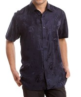 Paradise Silk Bamboo Jacquard Charmeuse 100% Pure Silk Short Sleeves Shirt Size L XL XXL XXXL