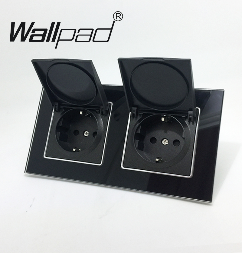 Wallpad Black Crystal Glass Panel 110V-250V Double Dust Cap EU European Schuko Wall Socket with Claws Clips Socket with Cap new arrival women luxury brand small flap bag designer split leather women messenger bag lady chain crossbody bag bolsa sac