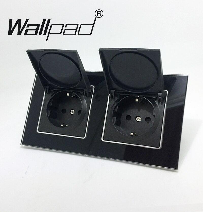 Wallpad negro Panel de cristal 110 V-250 V tapa antipolvo doble UE Schuko europeo pared con garras zócalo con tapa