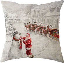 2019 New Year Merry Christmas Decorations for Home Santa Claus Elk Natal Navidad Linen Sofa Car Cushion Pillow Case Wholesale