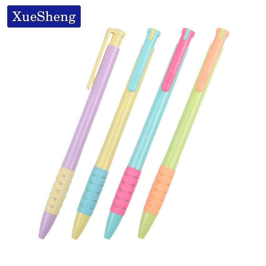 4 шт./лот случайный смешанный цвет пластика шариковая ручка 0.5 мм Нажмите шариковая ручка школьные принадлежности B-7509