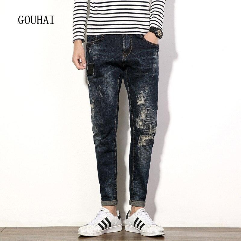 2016 Men Jeans Plus Size Mens Denim Jean Autumn Winter Cotton Pants Men Denim Trousers Slim Hole Jeans Pants High Quality
