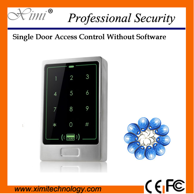 Single door access control IP65 Waterproof 13.56mhz MF card reader mart door lock standalone access control system low cost m07e access control kit without software waterproof card reader card access control device with magnetic lock
