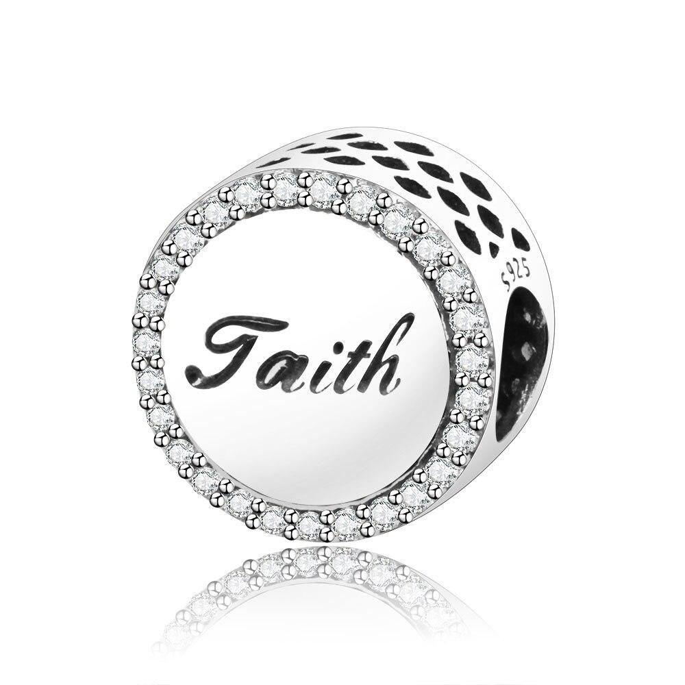 S925 God Bless wish cross silver charm bead For European bracelet chain bangles