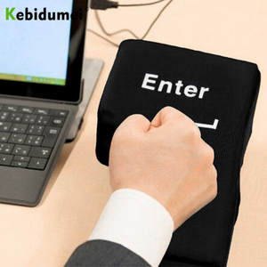 Kebidumei Big USB Enter Key Anti Stress Button Decompression Computer Any Vent Pillows Button Desktop Pillow For Programmer