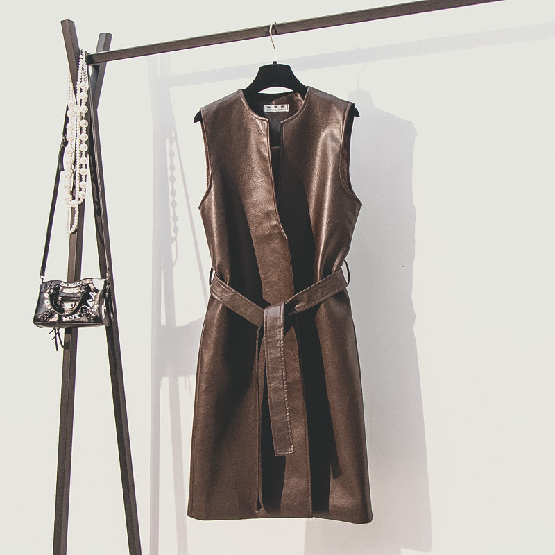 Women Faux   Leather   Jackets 2019 Autumn Winter New Fashion Waistcoat Coat Sleeveless Casual Outerwear With Belt Slim Jacket R425