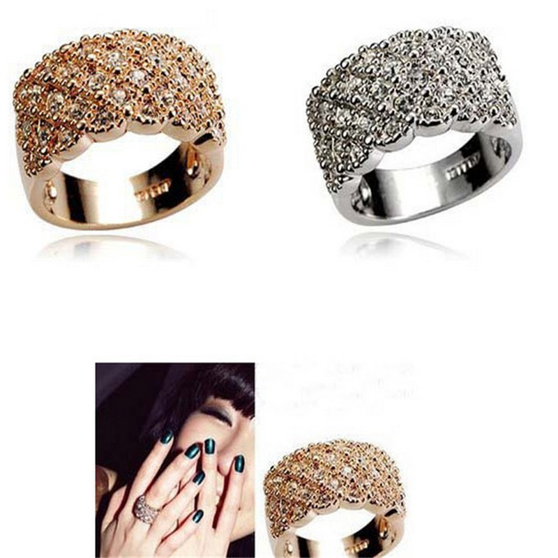 Fashion Unique style Crystal Gold and Silver plated Wide and Wild Shiny Party Wedding Ring For women