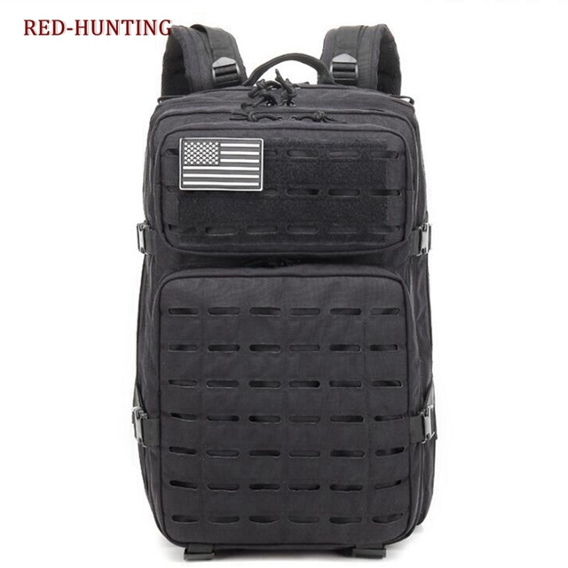 Tactical Military 900d Nylon Backpack Molle Assault Range Bag Everyday Carry With Flag Patch Black