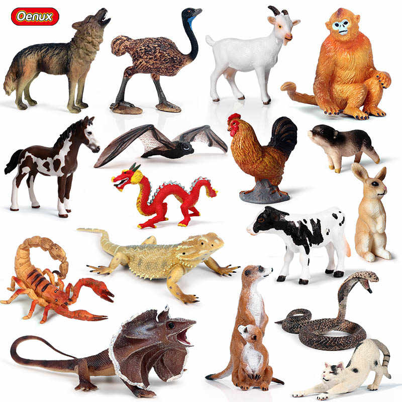 Oenux Forest Animals Lizard Bat Snake Action Figure Farm Hen Cow Pig Cat Horse Model Figurines Miniature Collection Toy For Kids