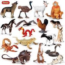 Oenux Wald Tiere Eidechse Bat Schlange Action Figure Farm Hen Kuh Schwein Katze Pferd Modell Figuren Miniatur Sammlung Spielzeug Für kinder