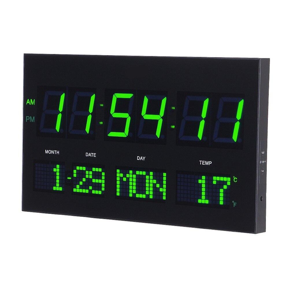 6 หลัก LED digaital wall นาฬิกา calenders,จอแสดงผลสัปดาห์ Linving ห้องออกแบบโมเดิร์นดิจิตอลเครื่องวัดอุณหภูมินาฬิกา-ใน นาฬิกาแขวนผนัง จาก บ้านและสวน บน   3