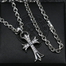 Punk Influx Jewelry Men And Women Genuine Sterling Silver Necklace Rough Diamond Cross Hair Pendant Sweater