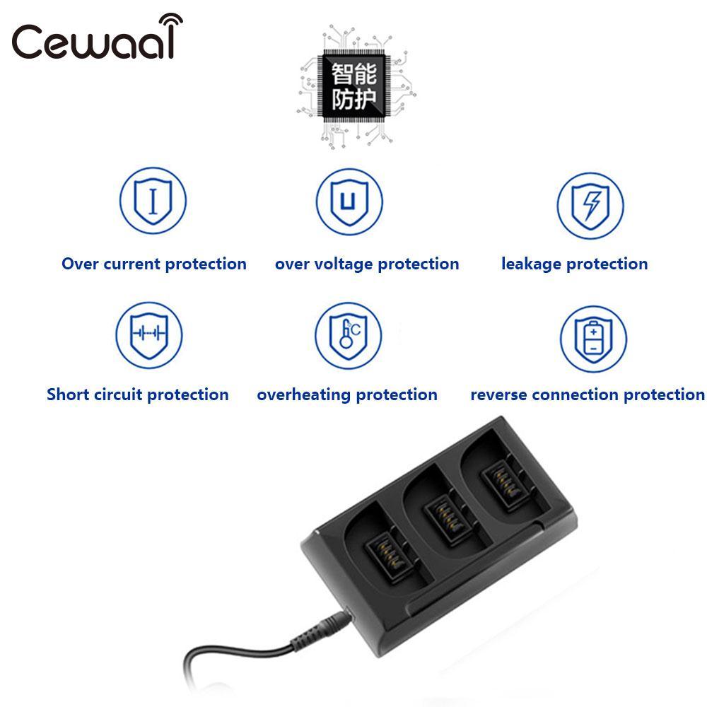 Cewaal chargeur de batterie 3 en 1 Port 12.6 V 2A moyeu de charge d'équilibre adaptateur de batterie ABS efficace pour Parrot Bebop 2
