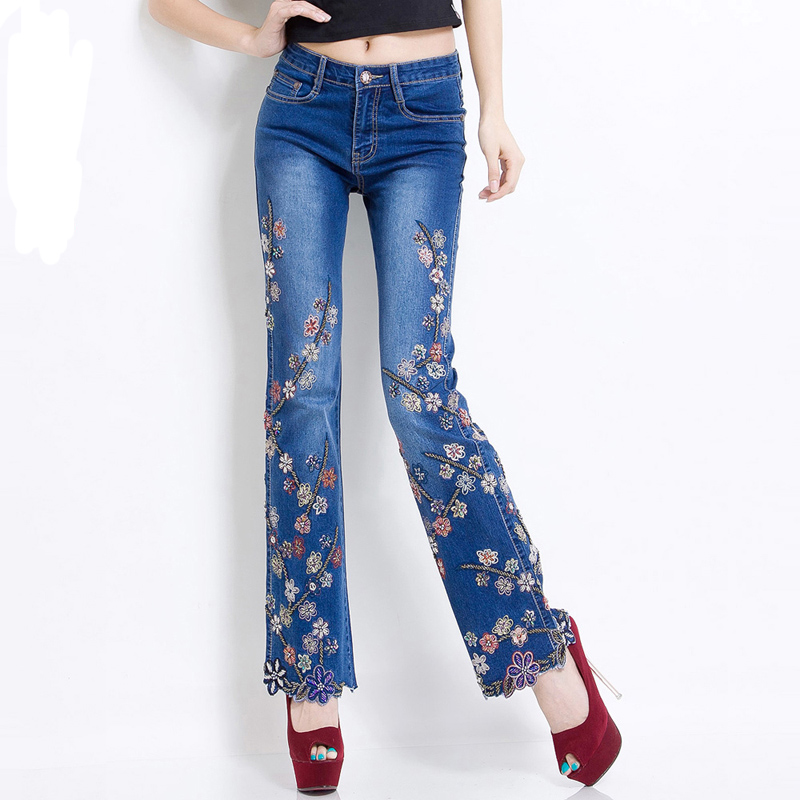 Spring luxury beading embroidered flare jeans female
