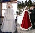 Longo Até O Chão Mulheres Branco/Marfim Nupcial Do Casamento do Inverno Do Natal Manto Capa Guarnição da Pele Do Falso Wraps De Noiva Com Handwarmer