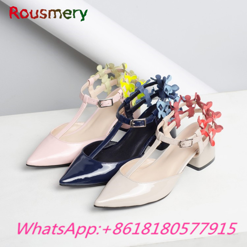 Elegant Office Lady Chunky High Heels Woman Pumps Spring Autumn Colorful Pointed Toe Zapatos Mujer Tacon Fashion Woman Shoes