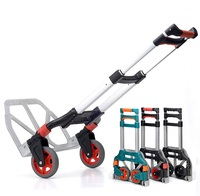 60kg Capacity Multi Functional Aluminum Alloy Folding Hand Truck And Dolly Trolley For Indoor Outdoor Travel