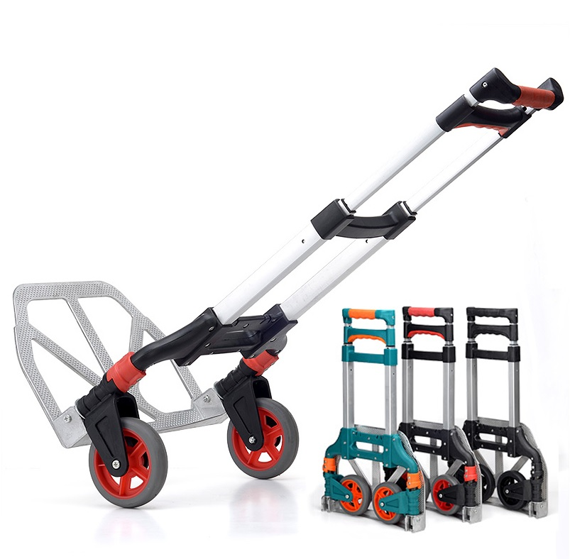 где купить 60kg Capacity Multi Functional Aluminum Alloy Folding Hand Truck and Dolly Trolley for Indoor Outdoor Travel Shopping Offi дешево