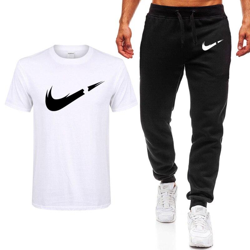 32aa4843c 2019 Verão Nova T-shirt Ocasional dos homens Ternos ginásio Homem Roupas  masculinas Define Tops + Calças camisola Dos Homens do Sexo Masculino marca  T Shirt ...