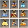 Средиземноморский Тиффани-барокко Стиль Синий витражный пасторальный круглый художественный светодиодный потолочный светильник для спал...