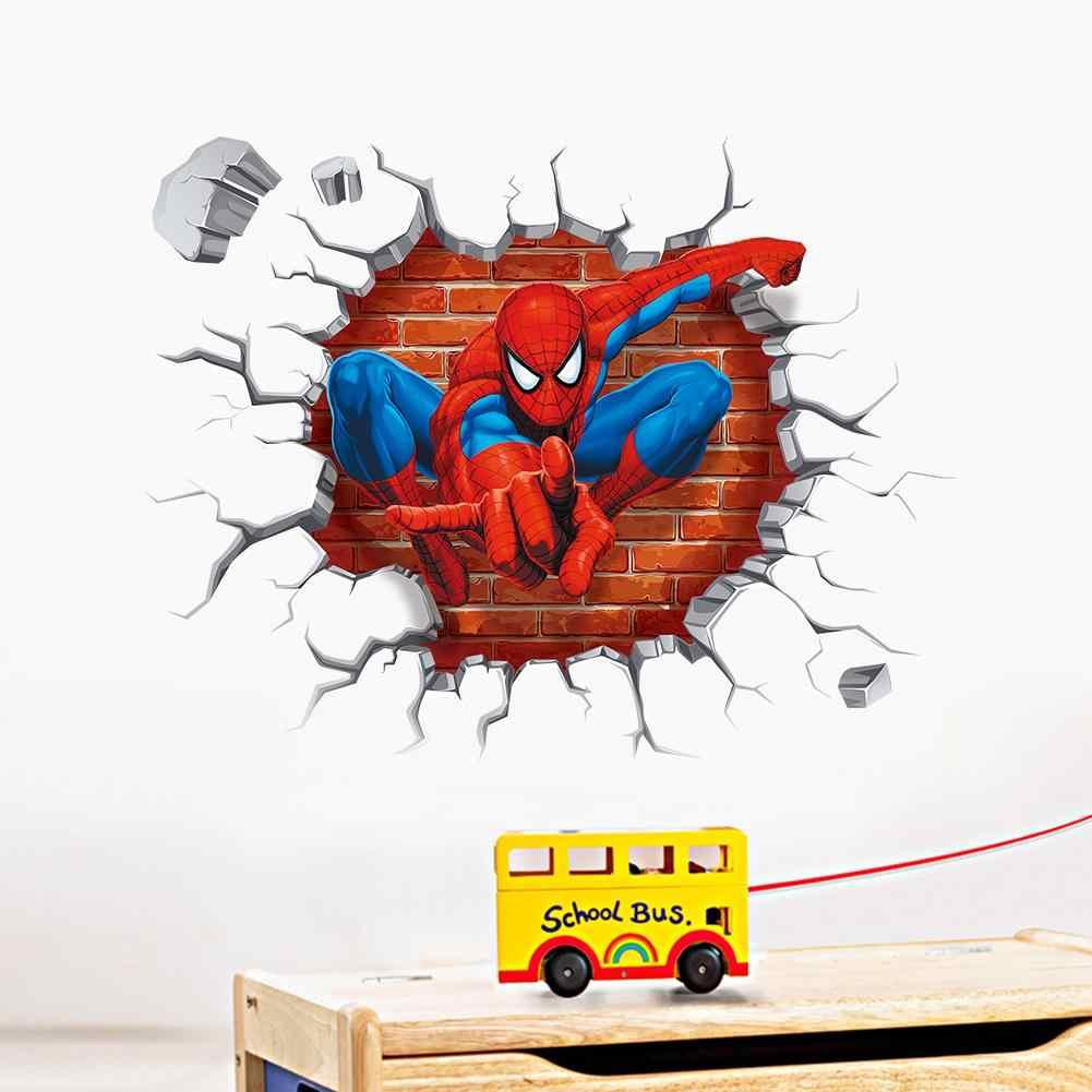 Spiderman adesivos de parede para crianças quartos decalques decoração para casa personalizado crianças berçário 3d spiderman adesivo de parede decoração para o menino
