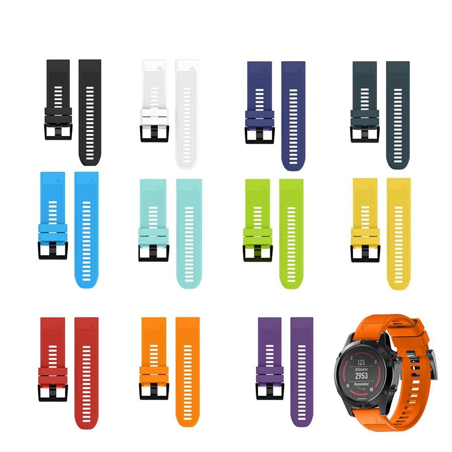 Fistar 26MM Watchband Watch Strap Quick Release Kit Silicone Band Strap for Garmin Fenix 5X Smartwatch