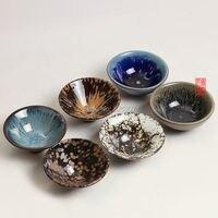 Kung Fu tea cup Chinese handmade built individual hats master cup Gongfu Porcelain tea bowl 2pcs Teapot Drinkware Creatives