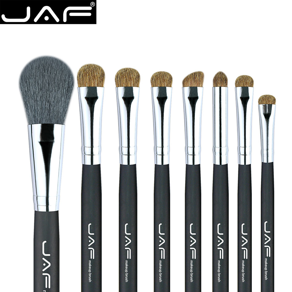 JAF Makeup Brushes for Eyeshadow Blending Classic 8pcs Eye Make Up Brush Set Professional Cosmetic Blush Powder Brush J0815AY-B fashion 10pcs professional makeup powder foundation blush eyeshadow brushes sponge puff 15 color cosmetic concealer palette