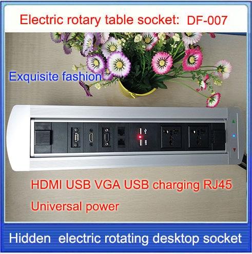 ФОТО EU Plug Electric rotation Desktop socket /hidden/ multimedia VGA HDMI RJ4 USB charging socket/Can choose function module/ DF-007