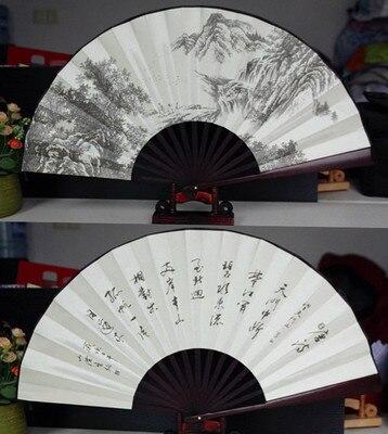 """1"""" украшенный Шелковый складной Ручной Веер человек большой бамбуковый китайский Печатный веер из ткани традиционное ремесло свадебные сувениры веер - Цвет: waterfall"""