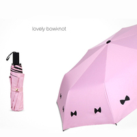 Lovely Bowknot Travel Compact Rain Folding Umbrella Windproof for Women Kids black coating Sun rain Umbrellas Pink Black