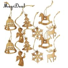 MagiDeal Vintage Style 12Pcs Assorted Wood Christmas Tree Hanging Decoration Xmas Ornament Gift Tag Embellishments Wedding Favor(China)